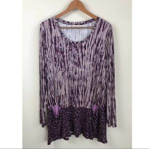 LOGO by Lori Goldstein Purple Print Tunic ~Size 1X